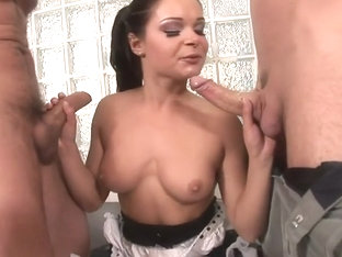 Hot brunette masturbates and Blows by 3 guys