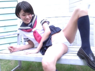 Japanese schoolgirl Reo bicycle strip
