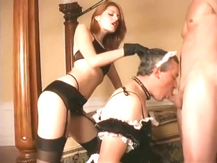 Sissy French Maid sucks cock for Mistress