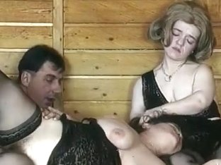 2 Hirsute Older Midgets in a Three-Some