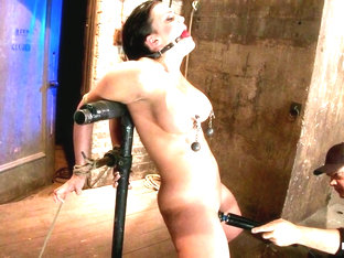 Hot 20 Something With Huge Titshair Tied Back, Gagged, Bent, Brought To Her Toes Brutal Orgasms - .
