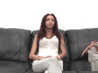 Cute petite Latina on the casting couch