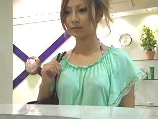 Perfect Japanese gets a creampie in massage voyeur action