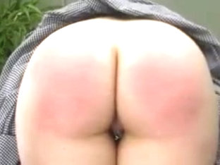 Bound girl with pierced pussy caned harshly