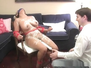 Huge tits babe bounded with boy covered in cream and fingered!