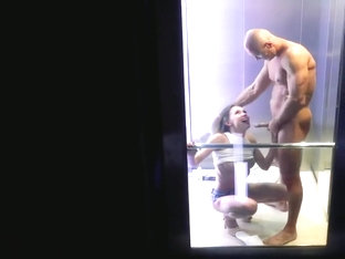 Passionate Public Fuck in the Elevator Shooted by Spectators and Drone 4K