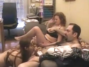 Swinger amateur threesome with blindfolds caught on film