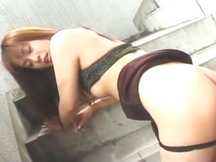 Kinky Asian babe ass spreading action