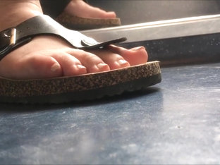 candid feet sandal close up