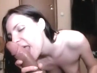 Babe coated with seed after sucking and fucking BBC