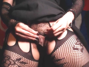 HD Close up of Meaty Hairy Pussy and Asshole in Crotchless Fishnet Tights