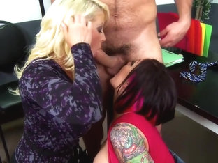 Claire and Alura enjoy in hot office threesome