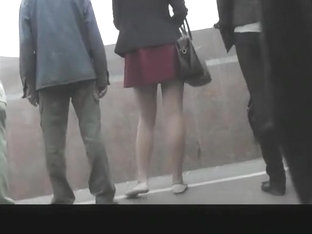 Girl in red miniskirt upskirted