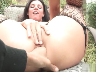 MILF Porn Star India Summers Lets Lesbian Fem Dom Anal Gape Her In POV