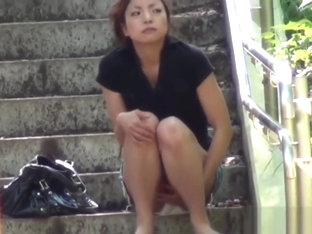 Heeled asian pee public