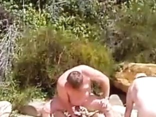 three bears engulf, fuck and blow at the beach