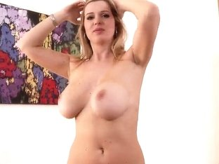 Blonde diva shows body and plays with twat