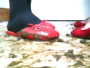 red ballet flats and sliders crush snails