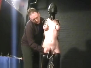 Slavegirl Cherry Torn hooded and pussy tortured in extreme hellpain bdsm