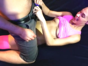 Fucking in pink stockings and crotchless panties