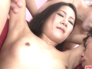 Kyoka Sono appealing woman fucked by two men - More at Japanesemamas.com