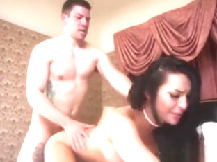 hot guy and sexy brunette shemale mutual fuck
