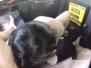 Pierced pussy Asian banged in fake taxi