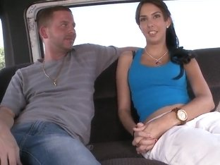 Amateur Karina has interview in the car