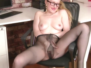 Office Babe Fucks Big Toy In Sheer Nylon Pantyhose