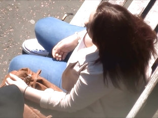 Candid Downblouse Cleavage on Bench