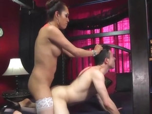 Horny shemale video with Fucks Guy, Interracial scenes