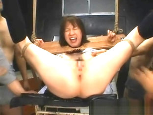 Tied up asian girl gets pussy masturbated hard