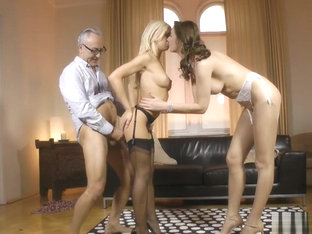 Classy Mature Couple Trio With Young Babe