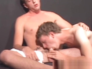 Skinny gay anal threeway ends with facial treatment