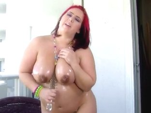 Pregnant Pornstar Georgia Peach Drills Overweight Cum-Hole with Toy