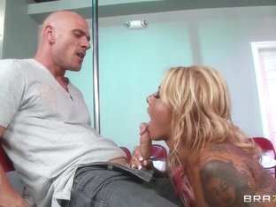 Blonde tattooed stripper pleasures a guy