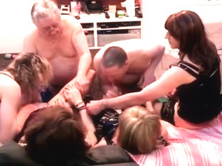 Part 2 of british tgirl orgy party with 4 girls and 2 guys
