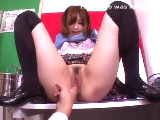 Attractive small titted asian teenage tart Erika Shibasaki brings dude to ejaculation