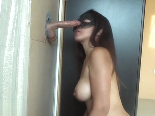 Hottie makes fantasy real - sucks on cock at gloryhole, wow!
