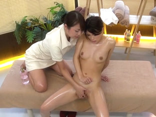 Akimi Horiuchi in Lesbian Oil Massage Squirting part 1