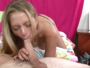 Eddiie Cox is lying on the bed and pleasuring hot deepthroat blowjob from sexy hot boobed chick Na.