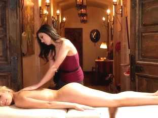 Lesbian Masseuse Tribbing With Young Beauty