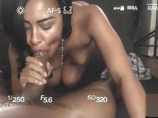 Chocolate model's photoshoot ends with sloppy blowjob