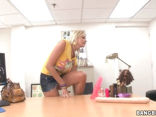 Blonde girl Leah Lust play with toys and makes blowjob