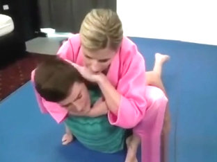 Mom teaches Jiu-Jitsu to her son