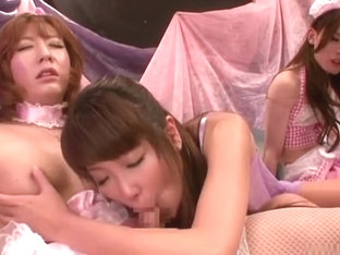 Horny Japanese chick in Crazy Threesome JAV movie