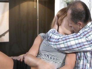 Teen redhead got creampie by older dude
