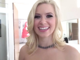 Cute Blonde Anikka Albrite Gets Her Mouth Stuffed With Cock