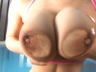 Chichi Asada Lovely Busty babe enjoys titty play
