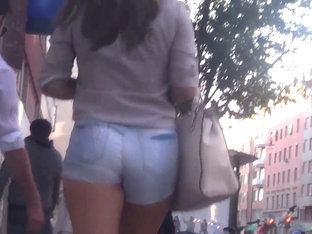 Shaking Her Ass In Jeans Shorts